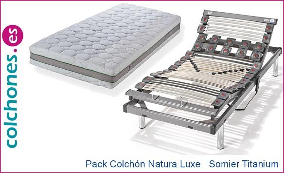 Pack colchón Natura Luxe + somier Titanium M de Hukla