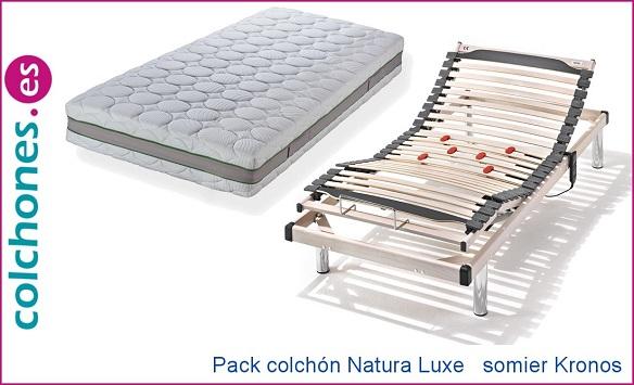 Pack colchón Natura Luxe + somier Kronos de Hukla