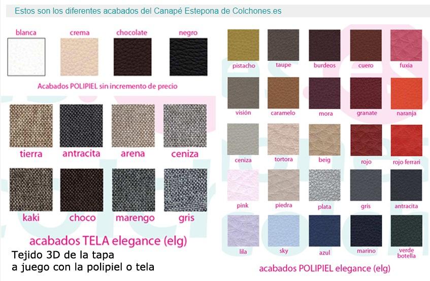 Acabados disponibles del canapé abatible barato en polipiel Estepona