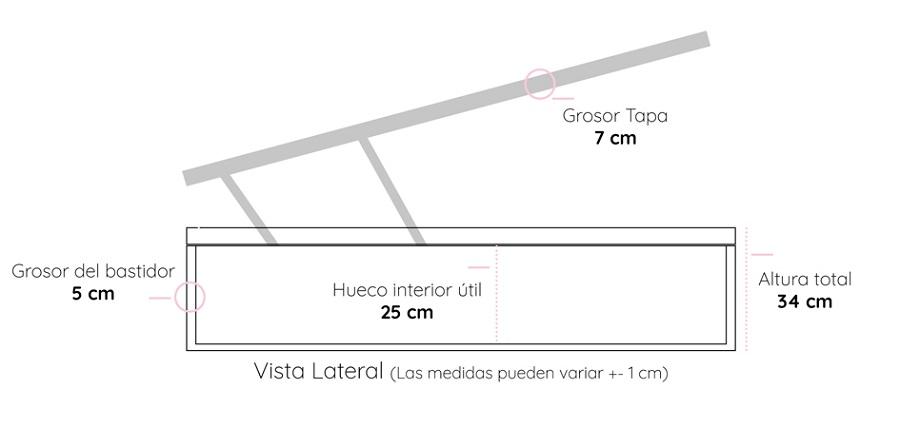 Medidas del canapé abatible barato en polipiel Estepona