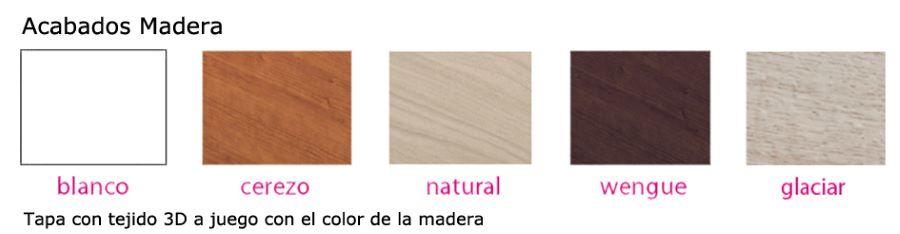 Acabados del canapé abatible Naturbox madera de Pikolin