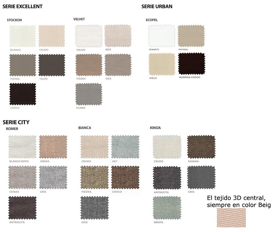 Opciones de colores de la base tapizada Glamour Sonpura