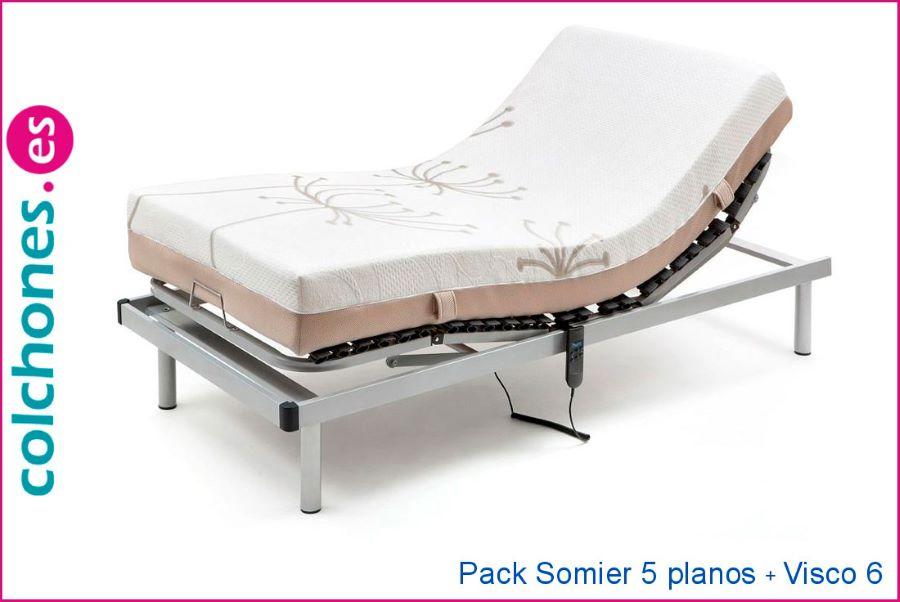 pack articulado somier 5 planos articulación más colchón viscoelástica 6 cm