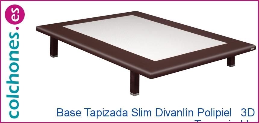 Base tapizada Slim Divanlin polipiel + 3D de Pikolin