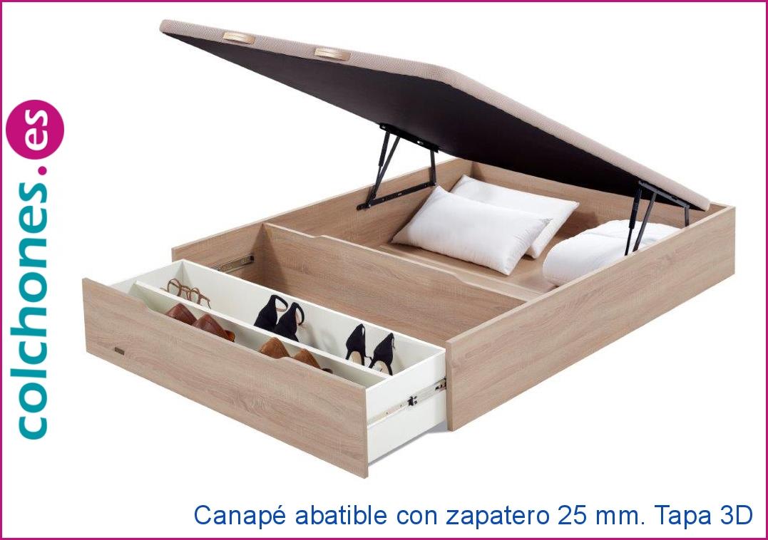 Canapé abatible 25 mm. con zapatero y tapa 3d de Flex