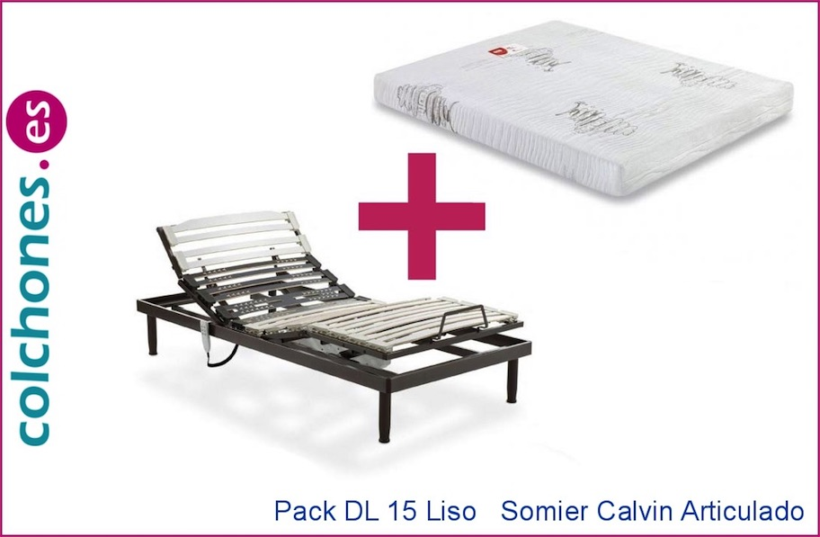 Pack colchón DL 15 liso más somier Calvin articulado de Dorwin (Flex)