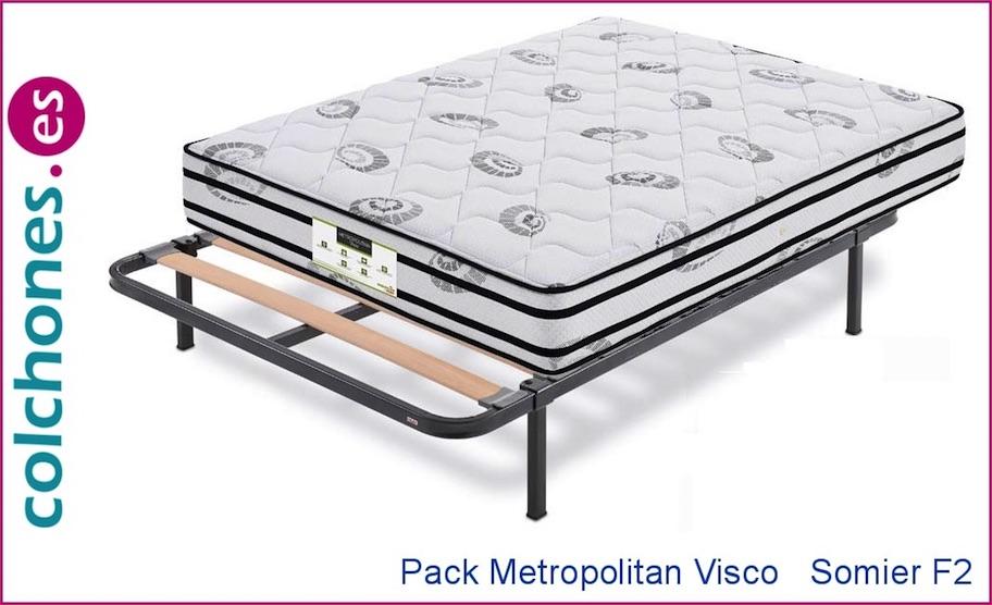 Pack colchón Metropolitan Visco de Dormilón más somier Somiflex F2 de Flex