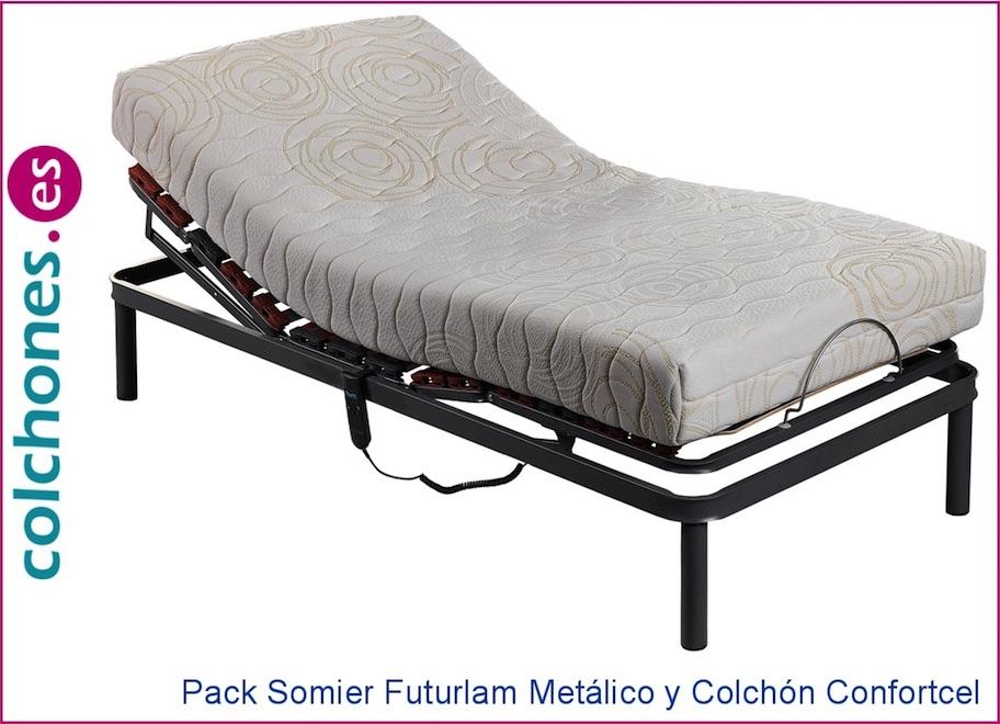 Pack somier eléctrico Futurlam y colchón Confortcel de Pikolin