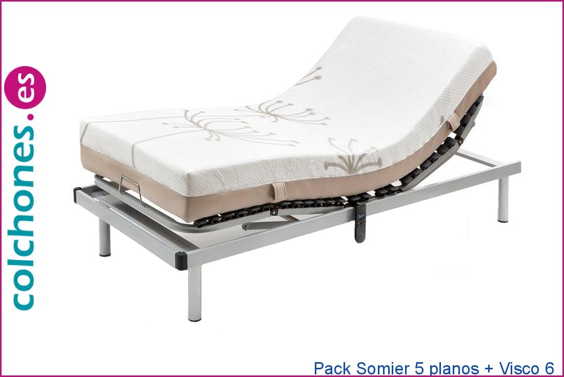 Pack Somier 5 planos + colchón Visco 6 de Colchones.es