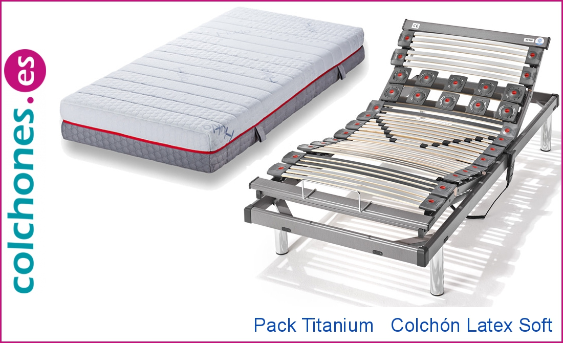 Colchón 100% Látex Soft Hukla y somier articulado Titanium M