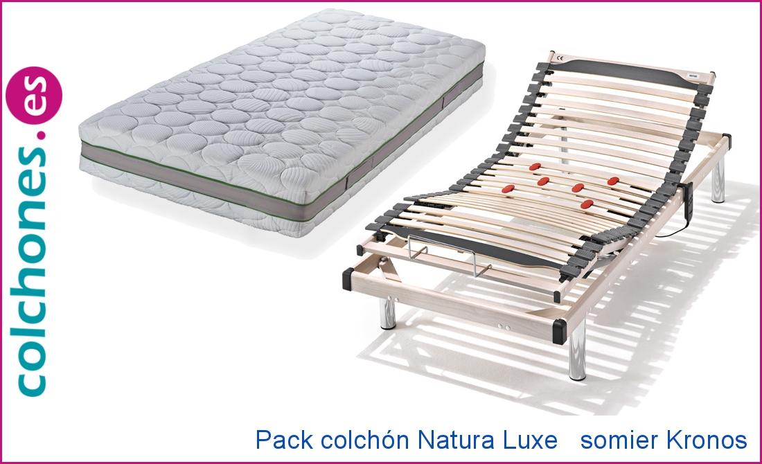 Colchón Látex Natural 100% Natura Luxe Hukla y Somier Kronos M