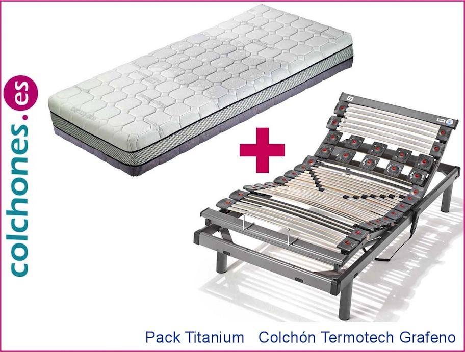 Colchón Hukla TermoTech Grafeno más somier articulado Titanium