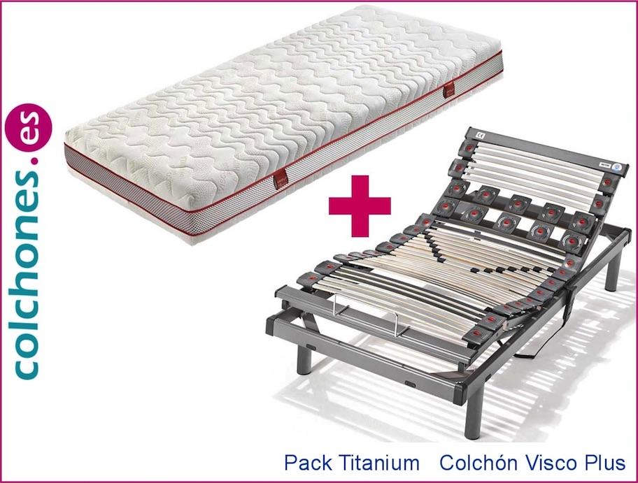 Colchón Visco Plus 5 + Somier articulado Titanium (Hukla)