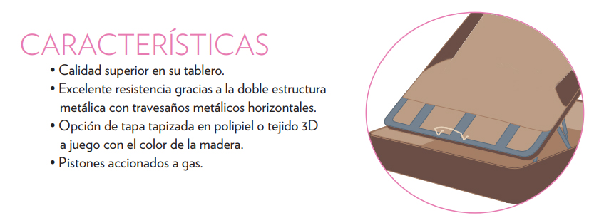 Ventajas Canapé abatible tapizado polipiel, tapa polipiel con zona central en 3D