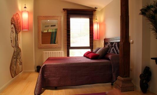 Decoraci n de dormitorios en colores oscuros negro for Dormitorio granate