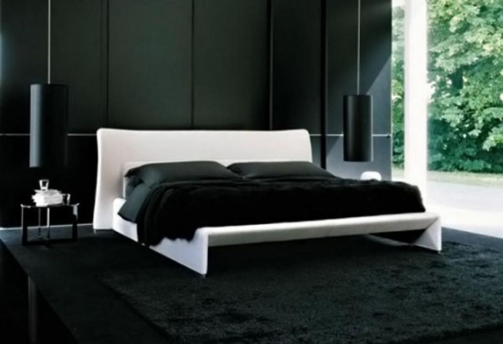 dormitorio en negro con amplio ventanal