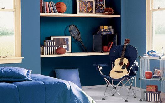 dormitorio juvenil de chico en azul marino