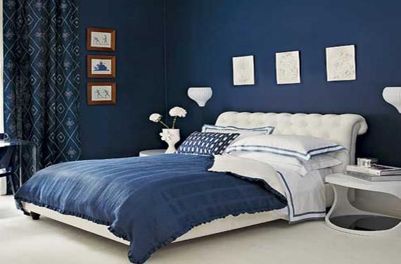 dormitorios en azul marino y blanco