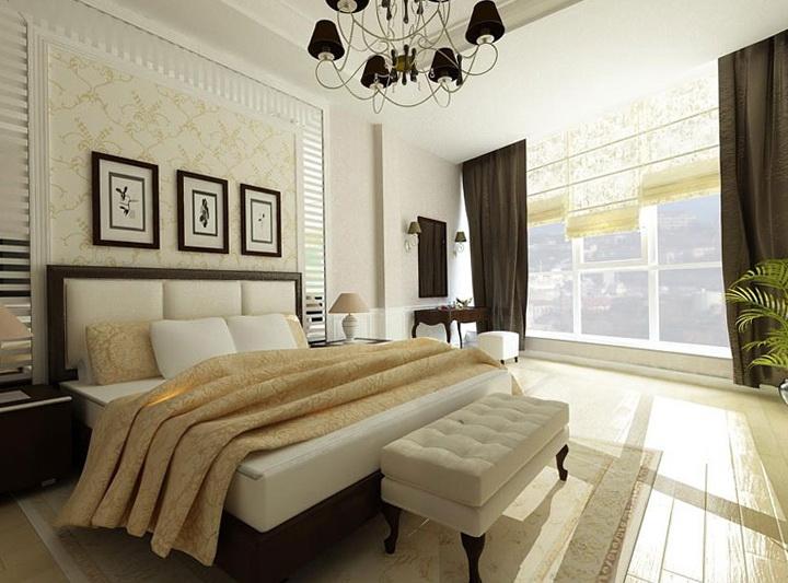 Dormitorio actual decorado con elementos clásicos