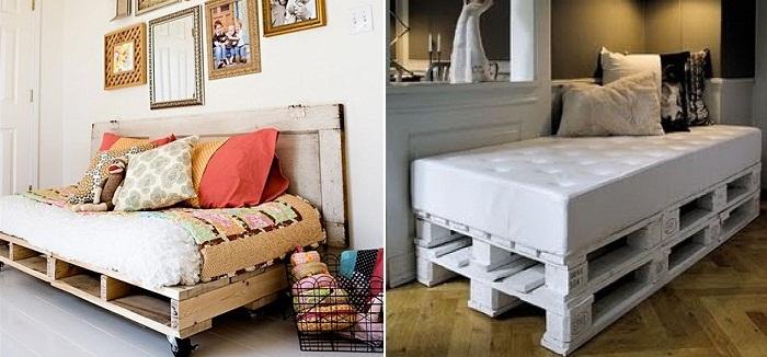 camas hechas con pales
