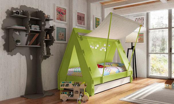 dormitorio infantil hipster tienda campaña