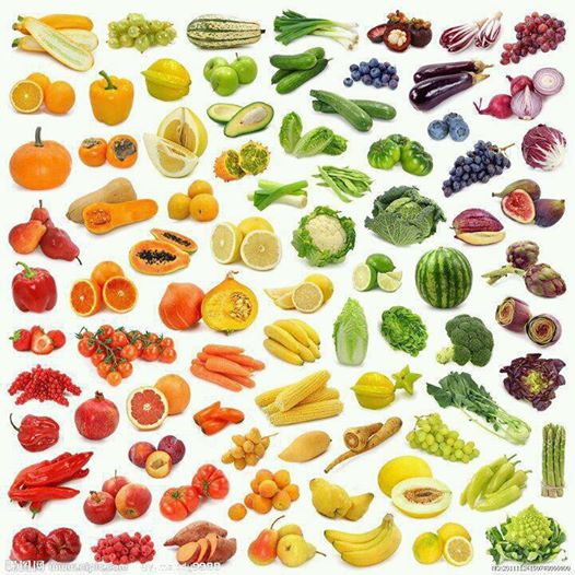 Alimentos y colores. Fuente: verdurasecologicas.org