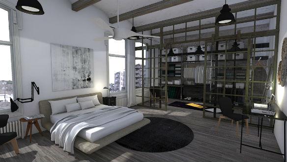 Dormitorio con decoración industrial