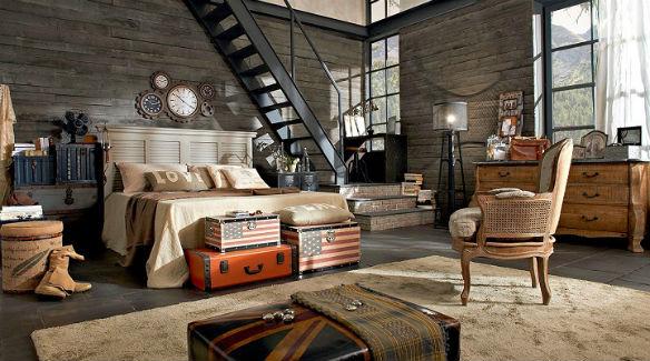 Dormitorio decoración industrial