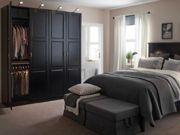 Dormitorios blancos, muebles negros