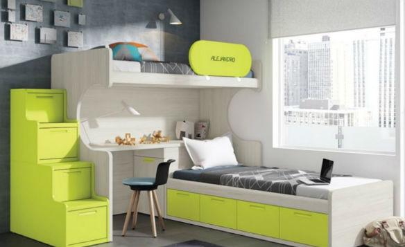 color de moda en 2017. dormitorio greenery