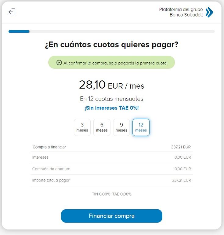 Financiación con Sabadell Instant Credit